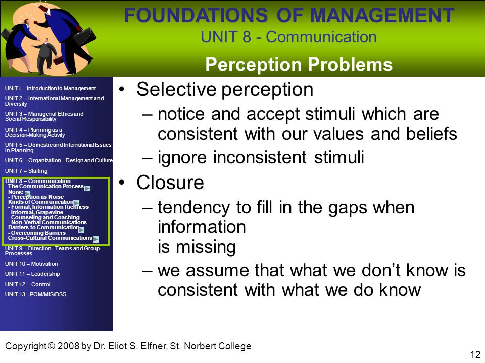 Selective perception Closure Perception Problems