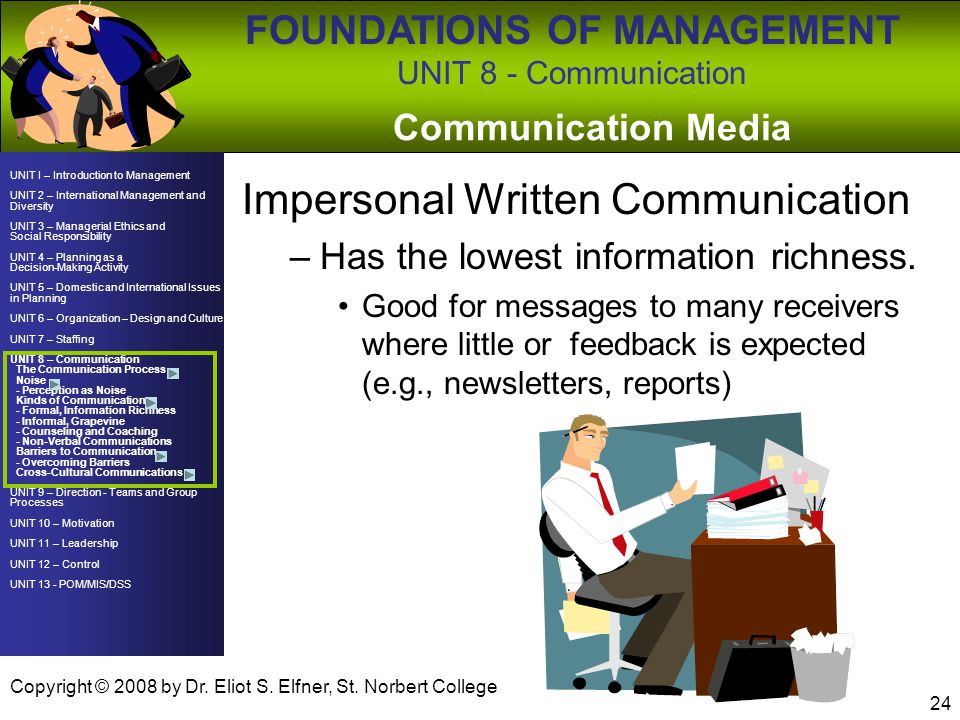 Impersonal Written Communication