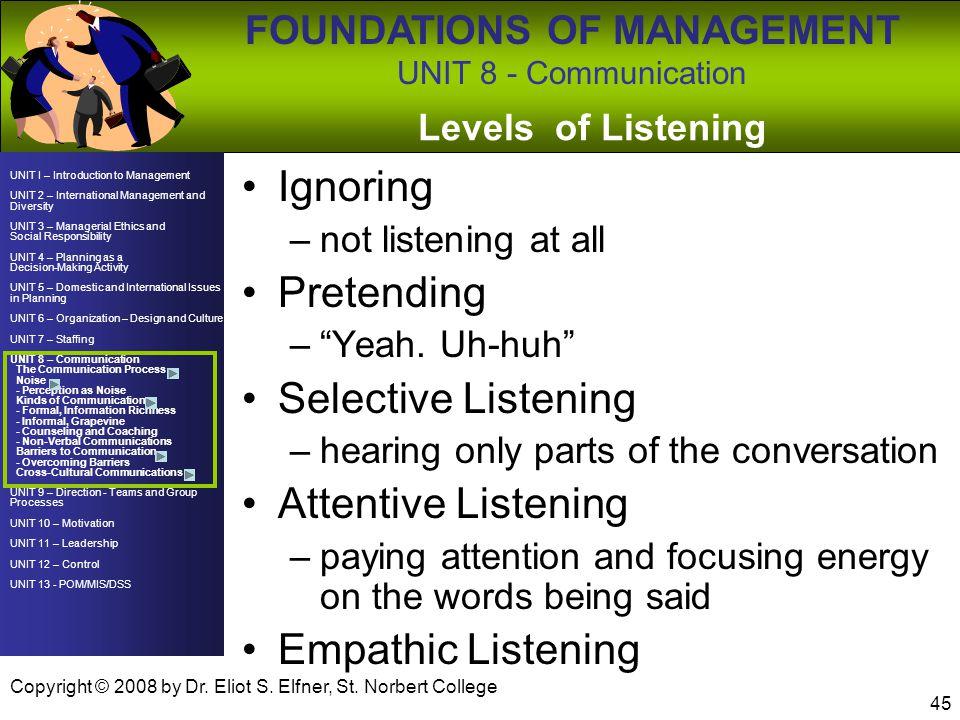 Ignoring Pretending Selective Listening Attentive Listening
