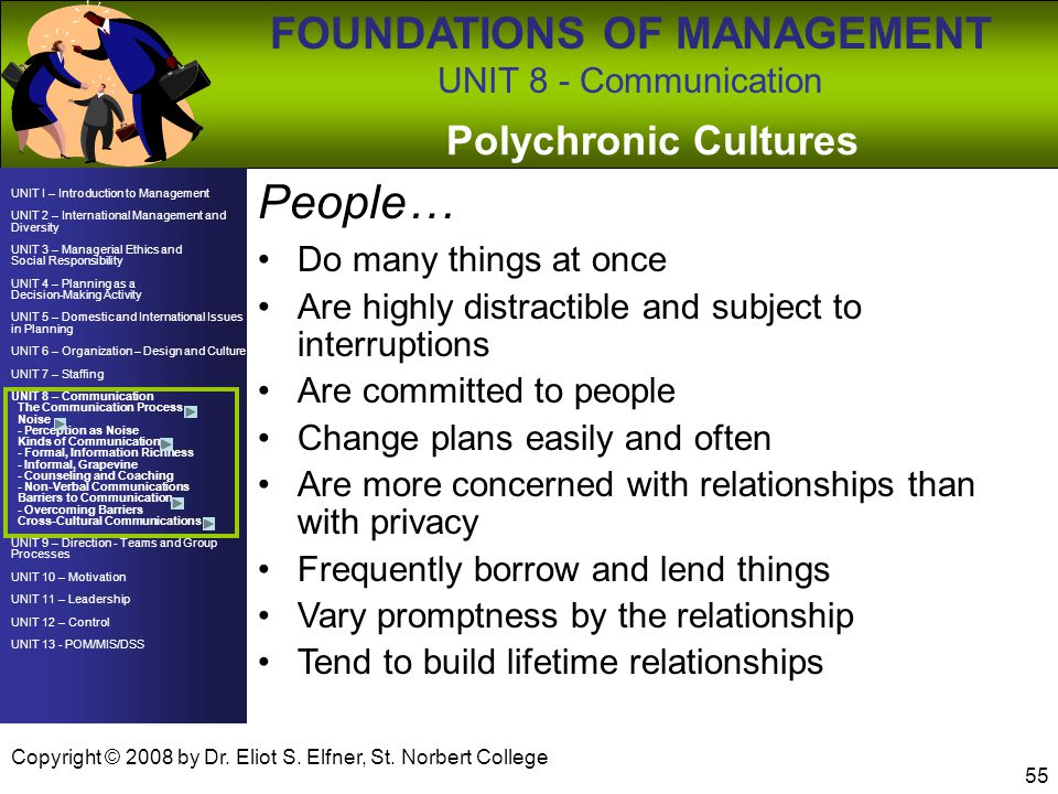 People… Polychronic Cultures Do many things at once
