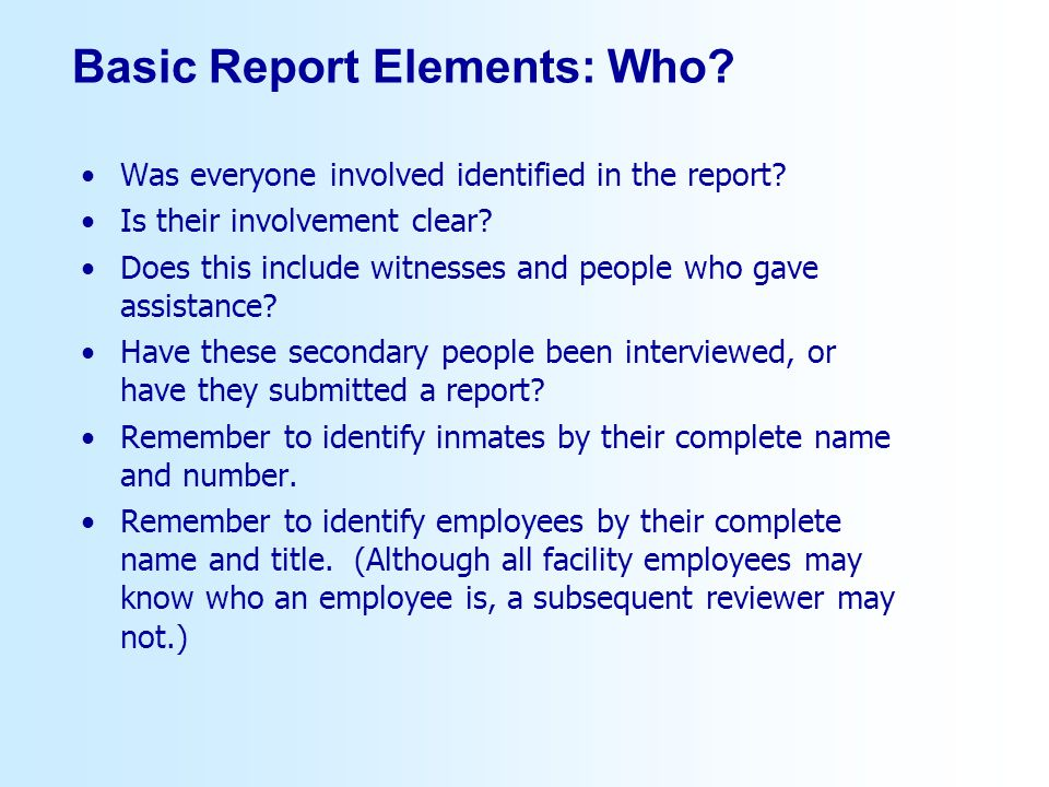Basic Report Elements: Who