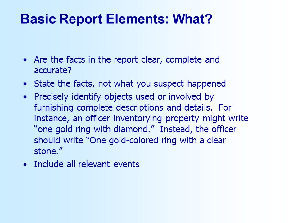 Basic Report Elements: What