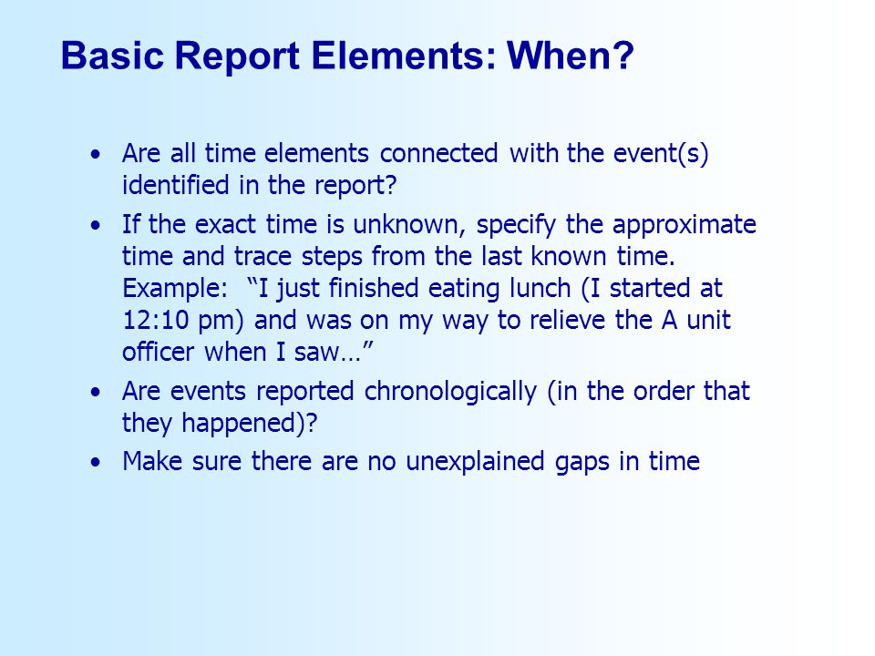 Basic Report Elements: When