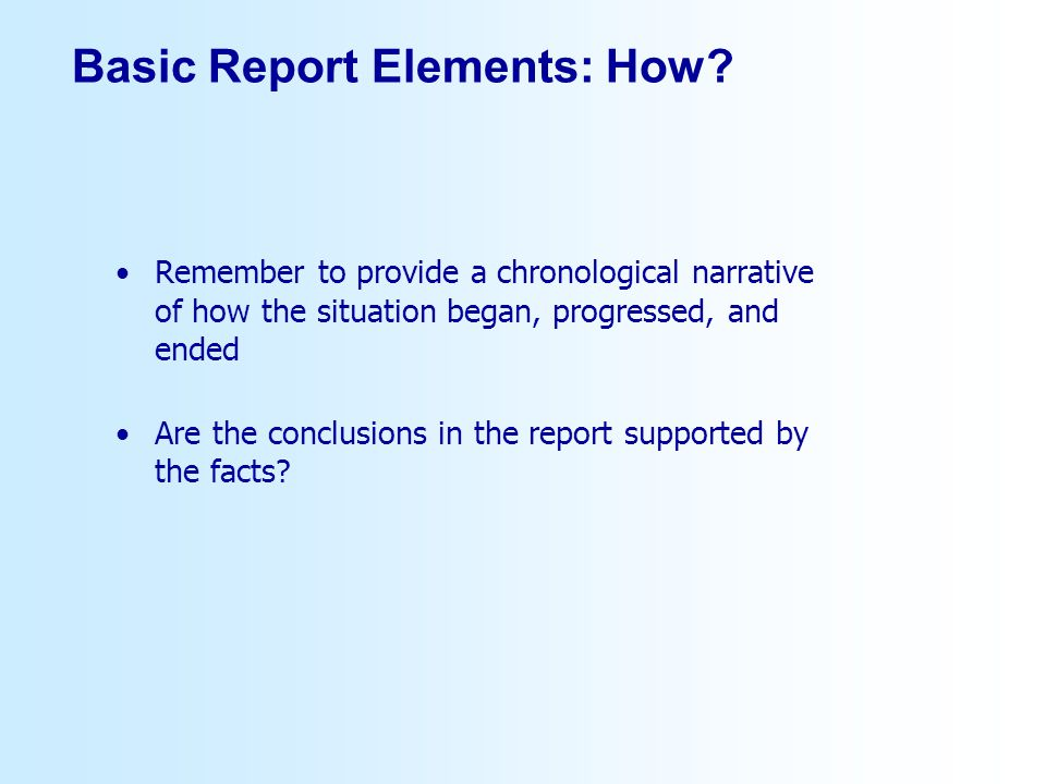 Basic Report Elements: How