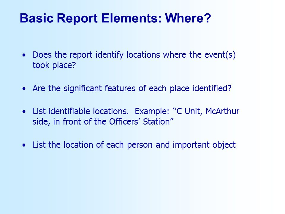 Basic Report Elements: Where