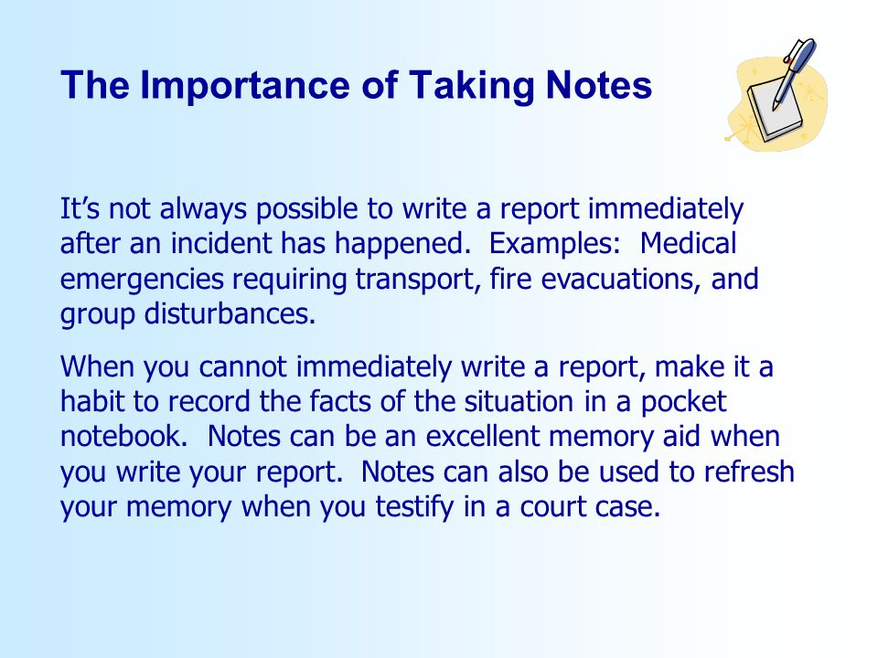 The Importance of Taking Notes