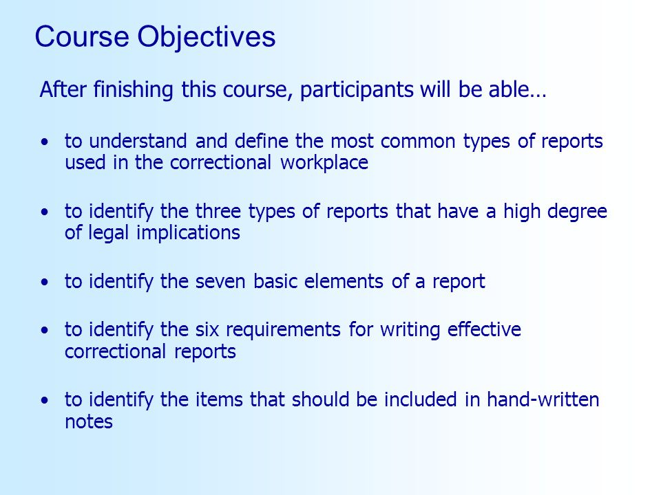 Course Objectives After finishing this course, participants will be able…