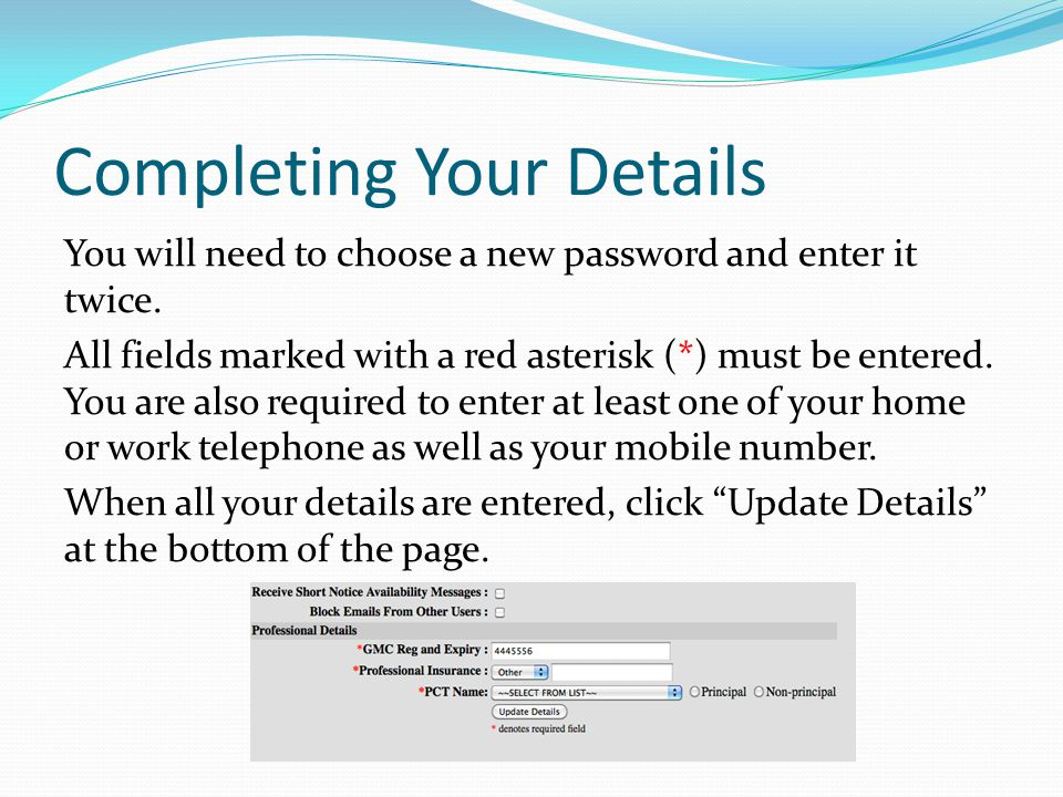 Completing Your Details