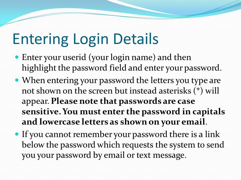 Entering Login Details