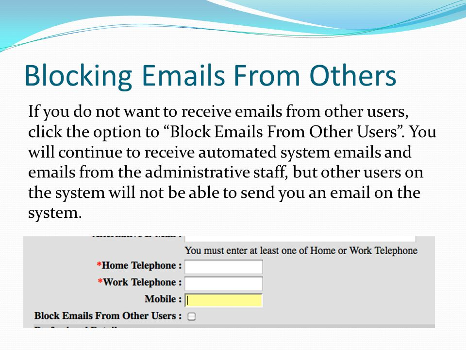 Blocking Emails From Others