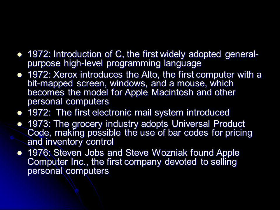 1972: Introduction of C, the first widely adopted general-purpose high-level programming language