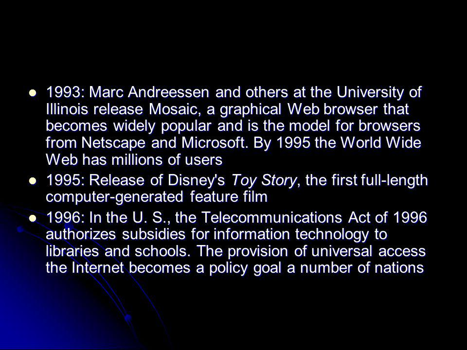 1993: Marc Andreessen and others at the University of Illinois release Mosaic, a graphical Web browser that becomes widely popular and is the model for browsers from Netscape and Microsoft. By 1995 the World Wide Web has millions of users