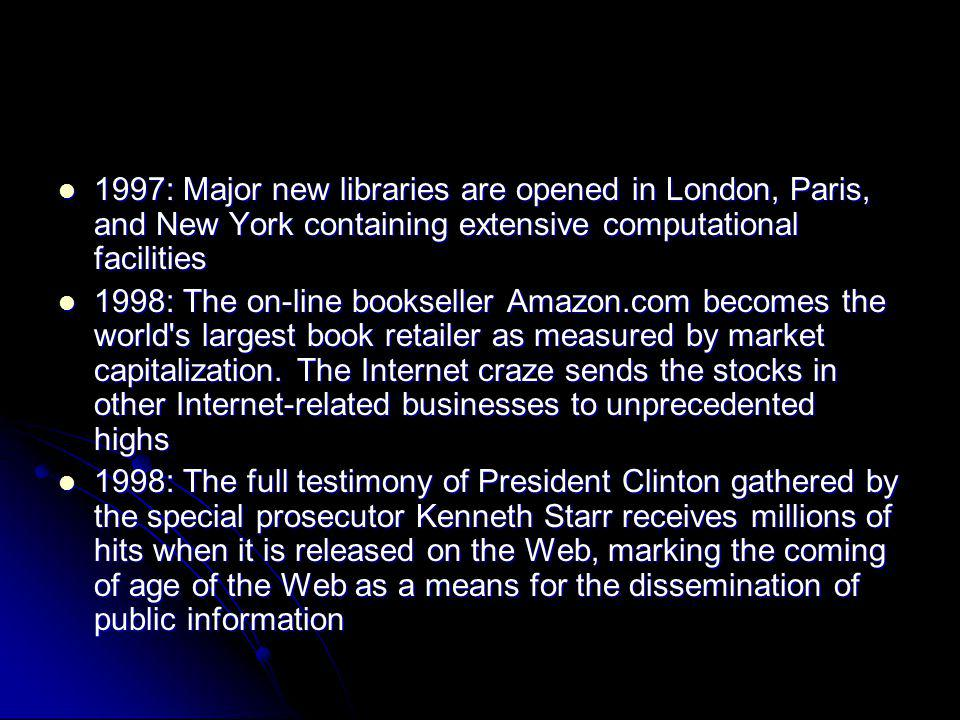 1997: Major new libraries are opened in London, Paris, and New York containing extensive computational facilities