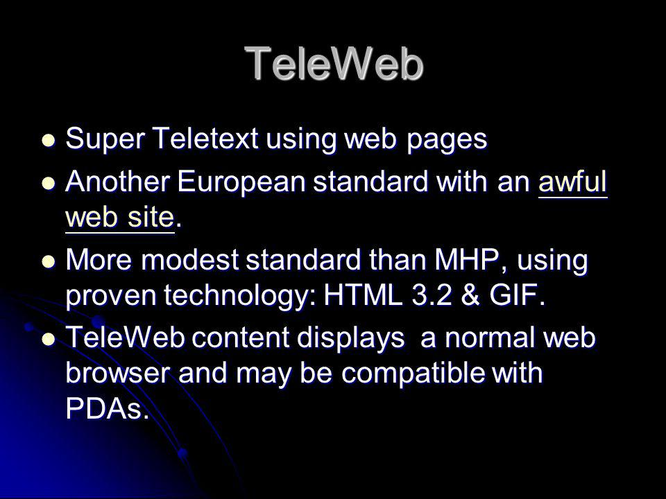 TeleWeb Super Teletext using web pages
