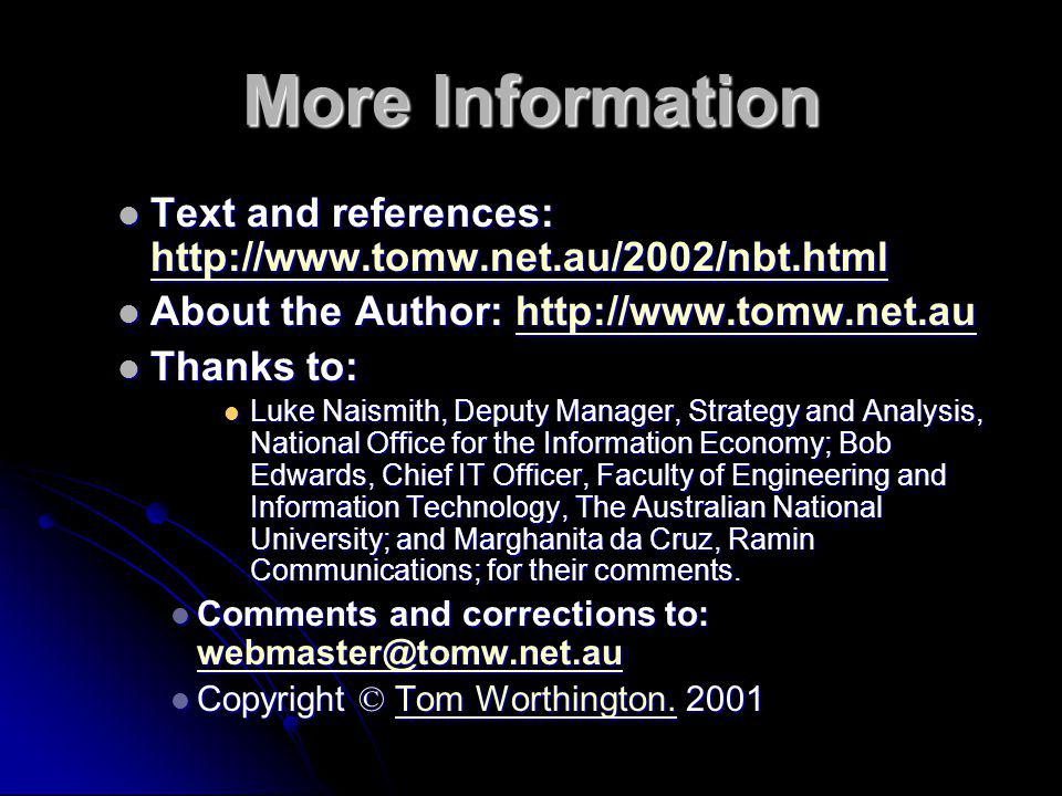 More Information Text and references: http://www.tomw.net.au/2002/nbt.html. About the Author: http://www.tomw.net.au.