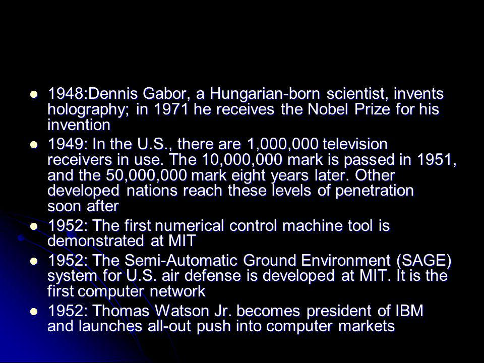 1948:Dennis Gabor, a Hungarian-born scientist, invents holography; in 1971 he receives the Nobel Prize for his invention