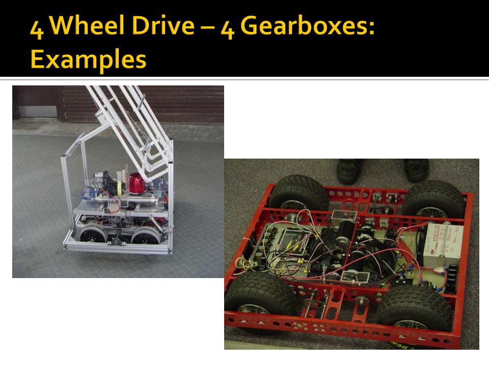 4 Wheel Drive – 4 Gearboxes: Examples