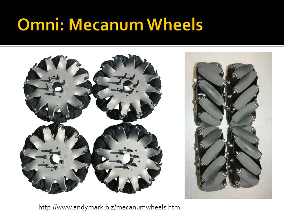 Omni: Mecanum Wheels http://www.andymark.biz/mecanumwheels.html