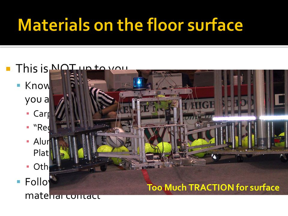 Materials on the floor surface