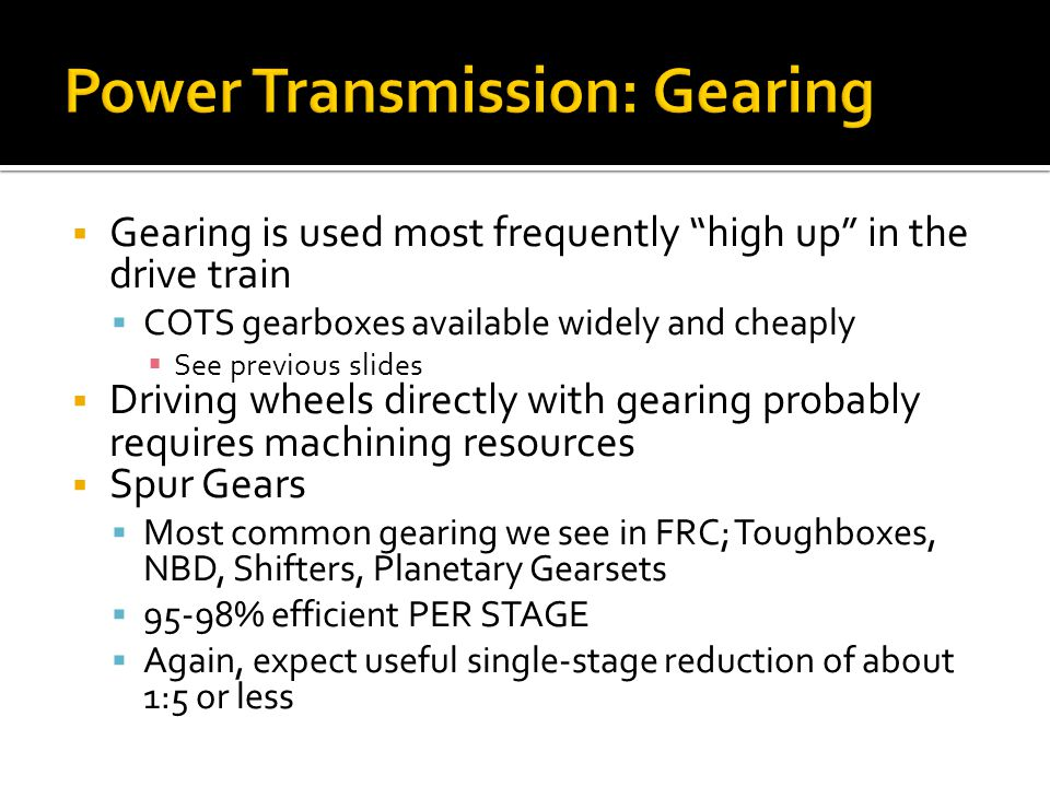 Power Transmission: Gearing