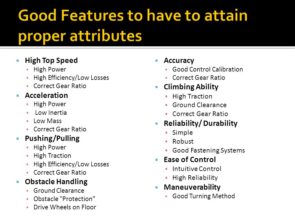 Good Features to have to attain proper attributes
