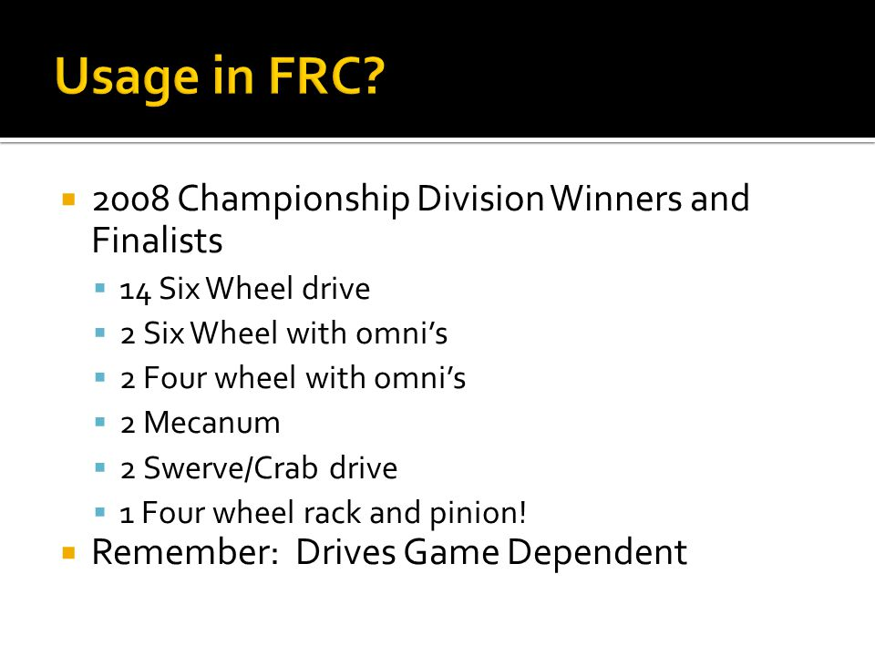 Usage in FRC 2008 Championship Division Winners and Finalists