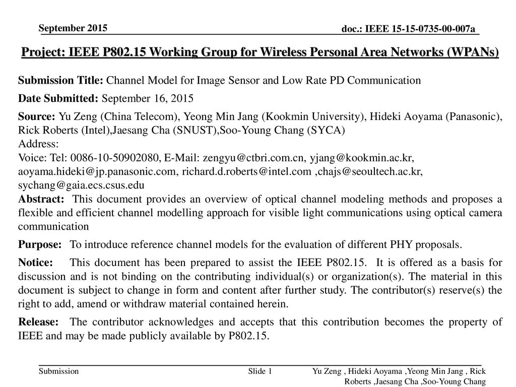 <month year> September Project: IEEE P Working Group for Wireless Personal Area Networks (WPANs)
