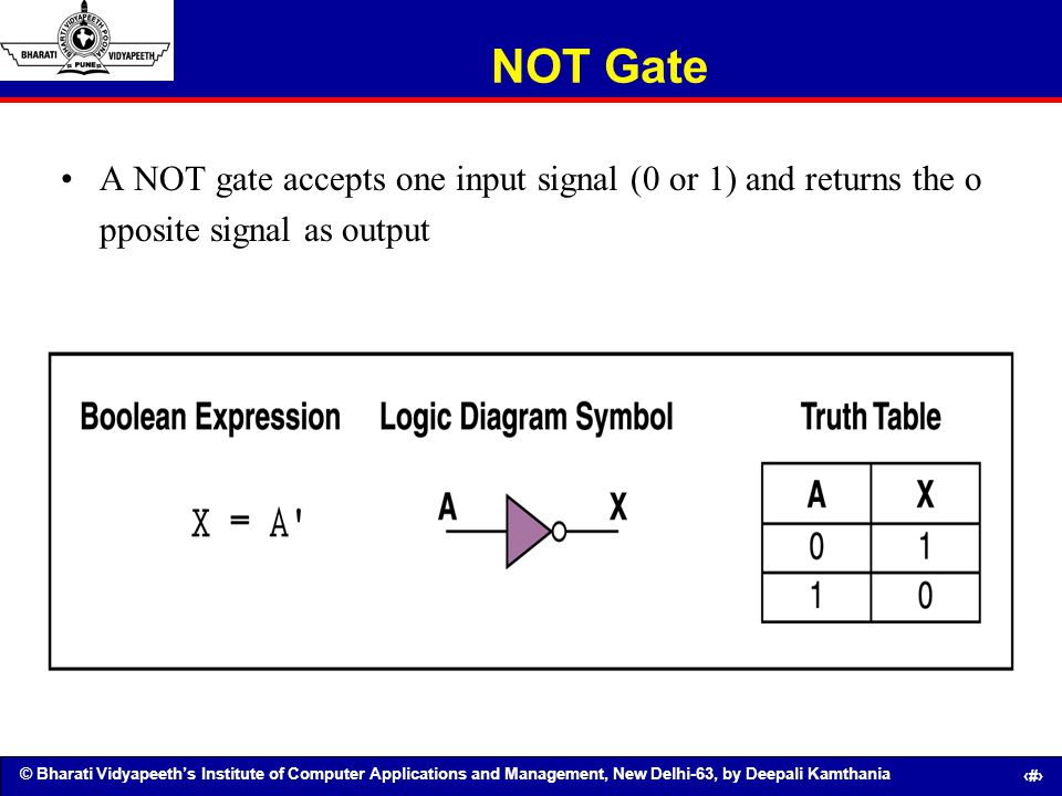 NOT Gate A NOT gate accepts one input signal (0 or 1) and returns the o pposite signal as output