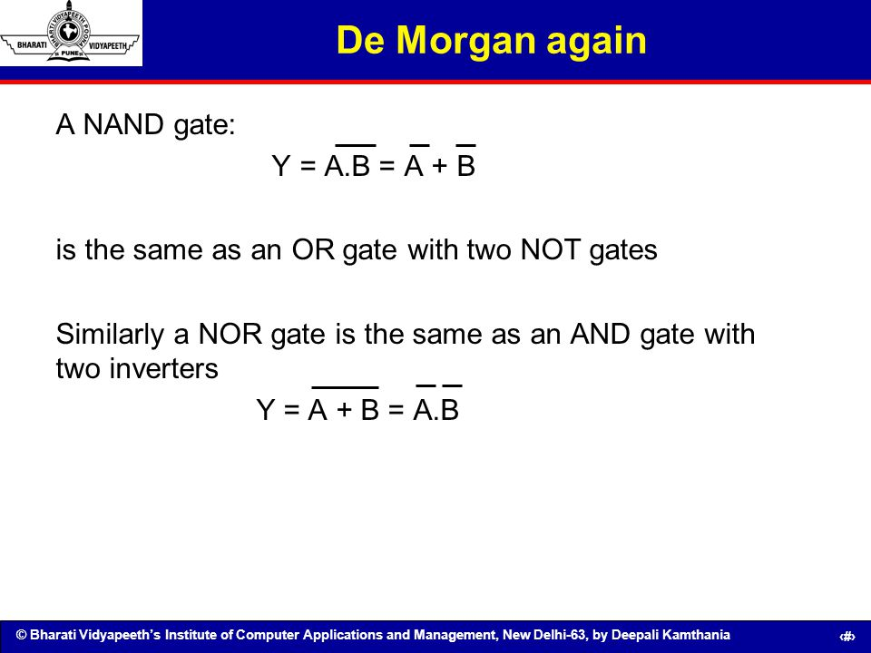De Morgan again A NAND gate: Y = A.B = A + B