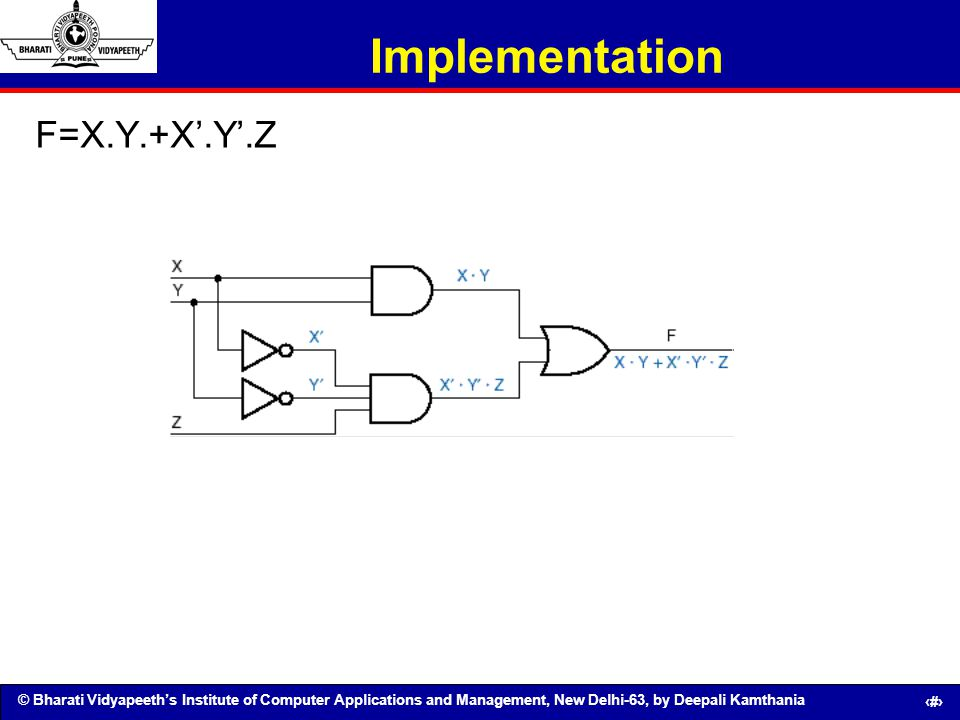 Implementation F=X.Y.+X'.Y'.Z