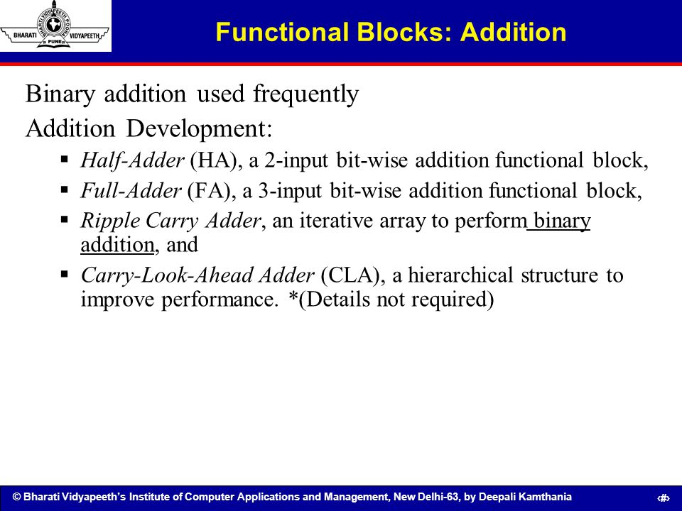 Functional Blocks: Addition
