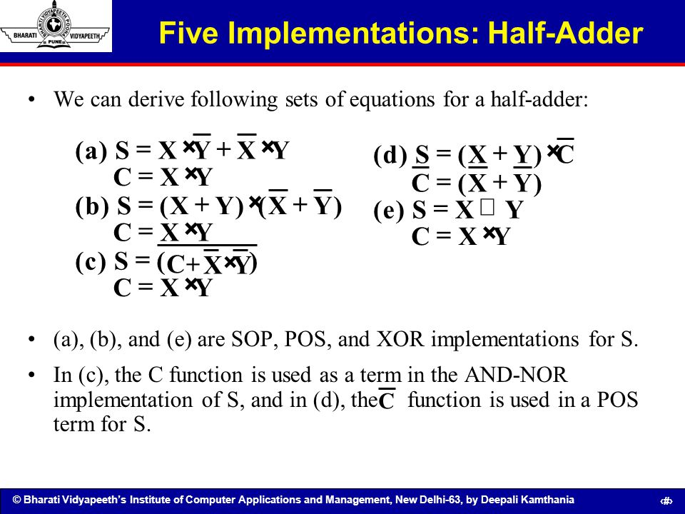 Five Implementations: Half-Adder