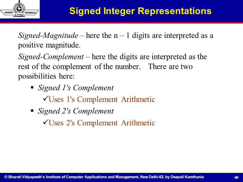 Signed Integer Representations