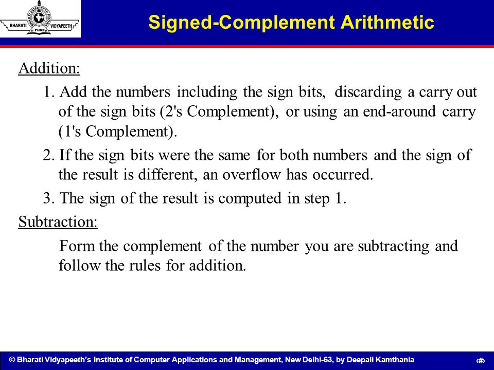Signed-Complement Arithmetic