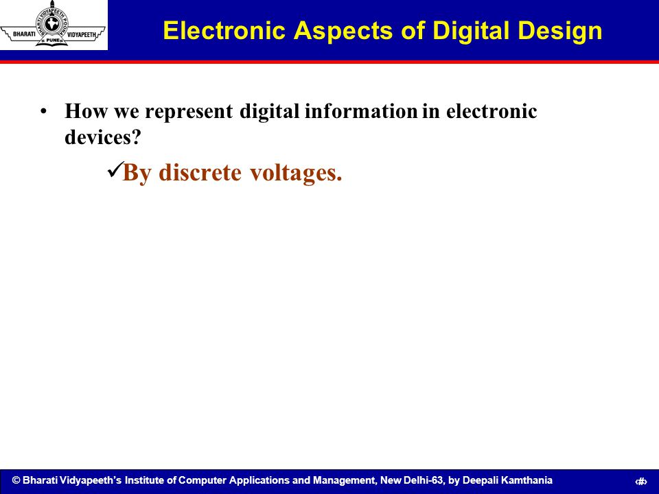 Electronic Aspects of Digital Design