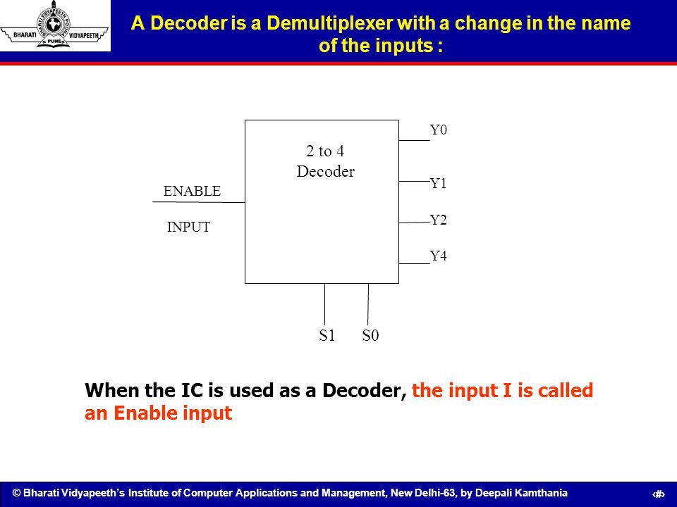 A Decoder is a Demultiplexer with a change in the name of the inputs :
