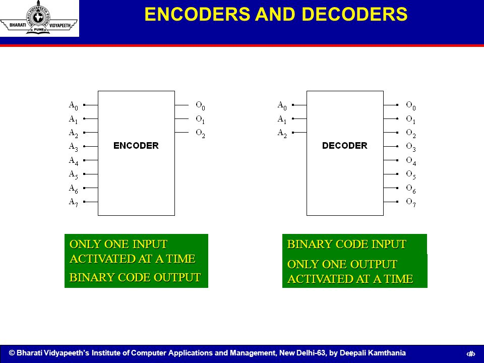 ENCODERS AND DECODERS ONLY ONE INPUT ACTIVATED AT A TIME