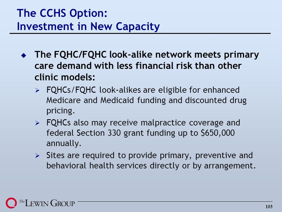 The CCHS Option: Investment in New Capacity