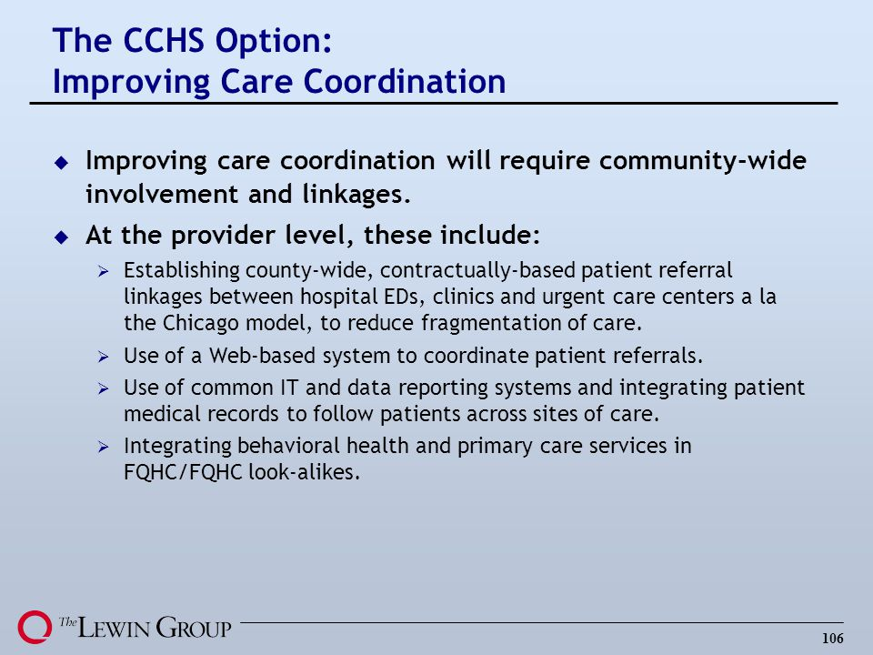 The CCHS Option: Improving Care Coordination