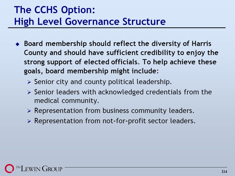 The CCHS Option: High Level Governance Structure