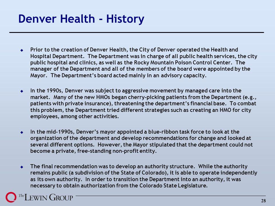 Denver Health - History