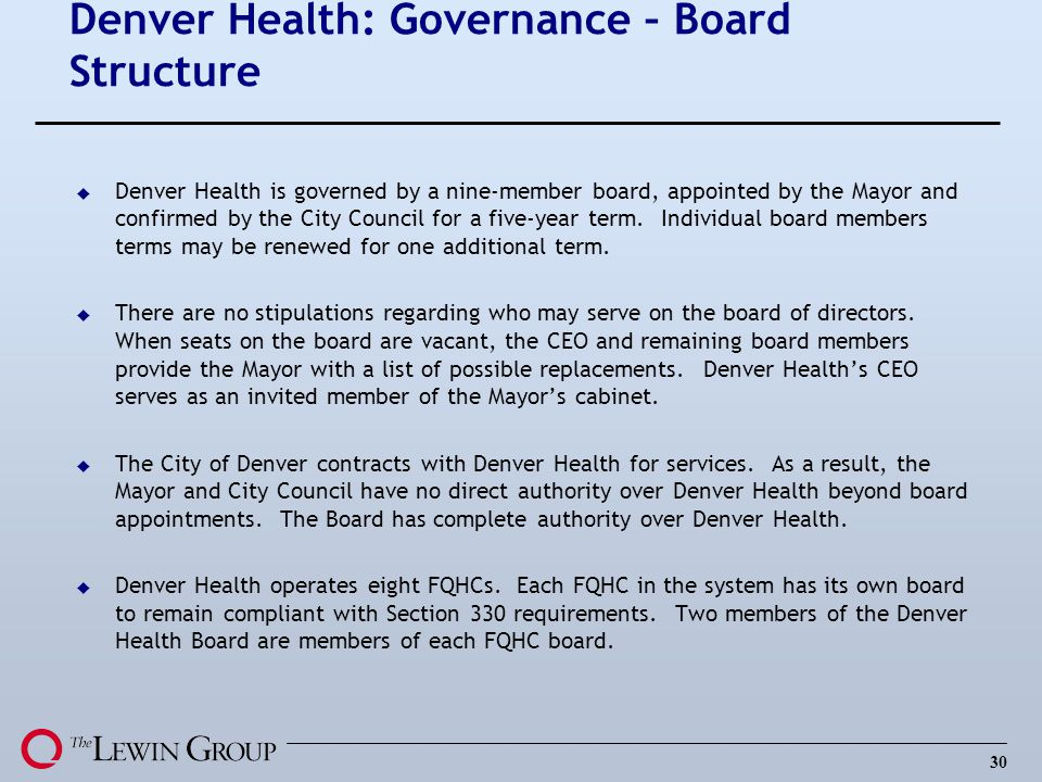 Denver Health: Governance – Board Structure