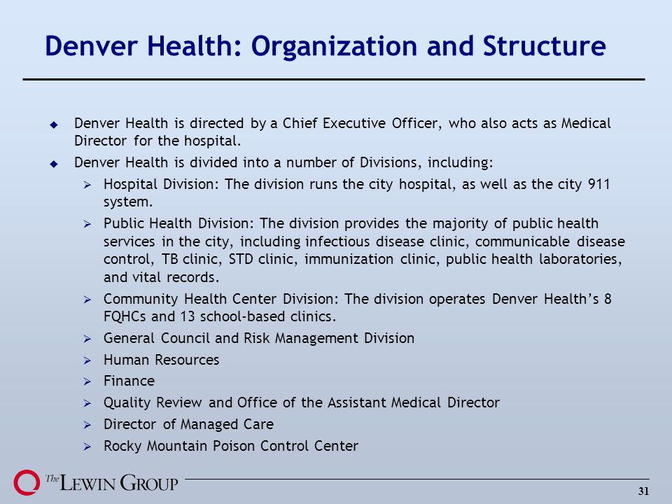 Denver Health: Organization and Structure