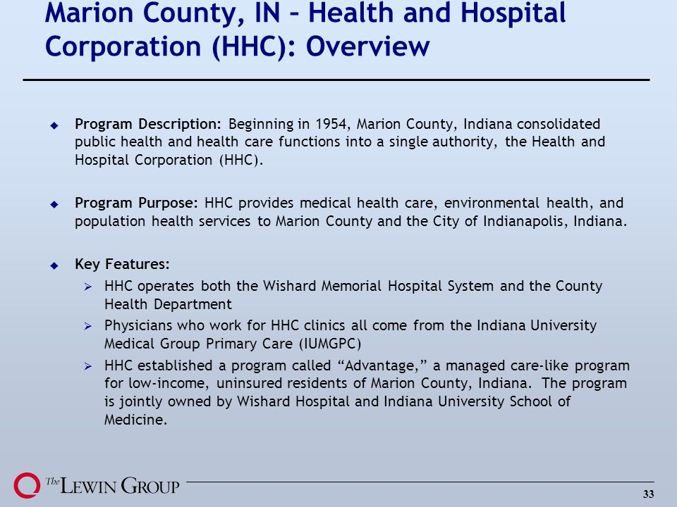 Marion County, IN – Health and Hospital Corporation (HHC): Overview