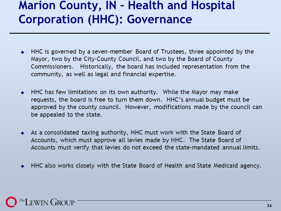 Marion County, IN – Health and Hospital Corporation (HHC): Governance