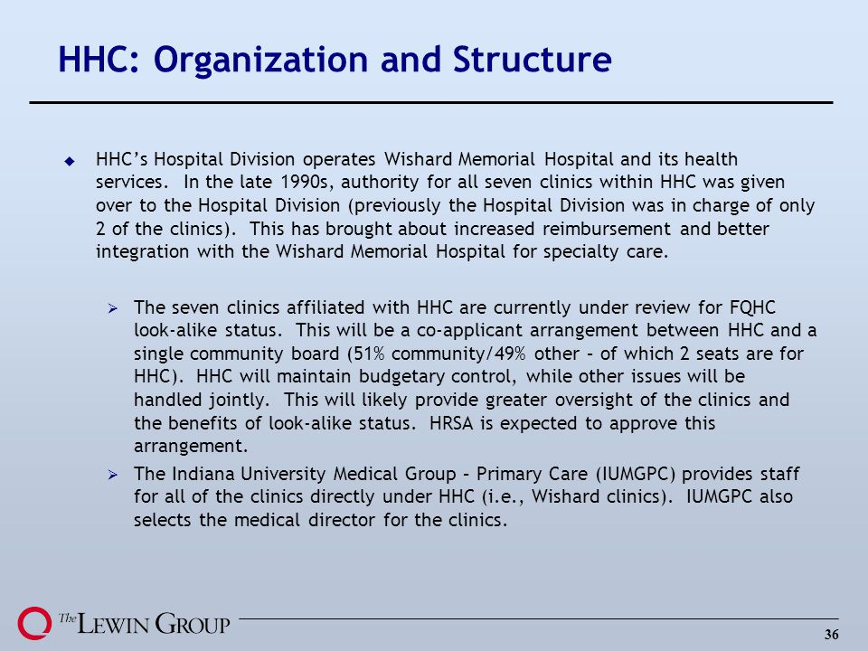 HHC: Organization and Structure