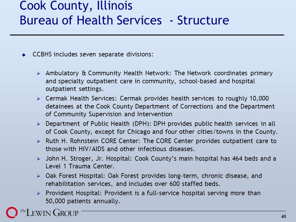 Cook County, Illinois Bureau of Health Services - Structure
