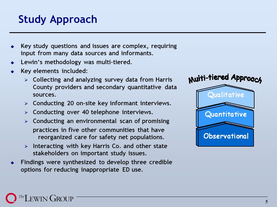 Study Approach Key study questions and issues are complex, requiring input from many data sources and informants.
