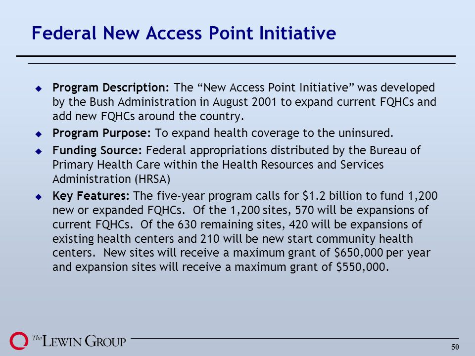 Federal New Access Point Initiative