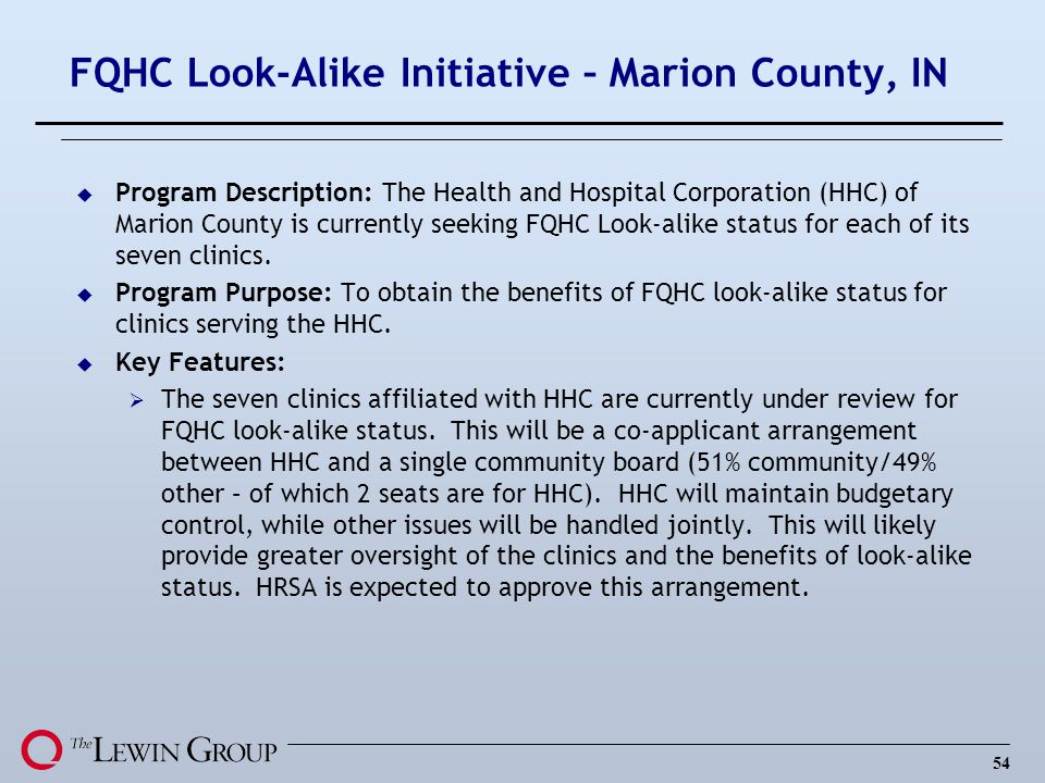 FQHC Look-Alike Initiative – Marion County, IN